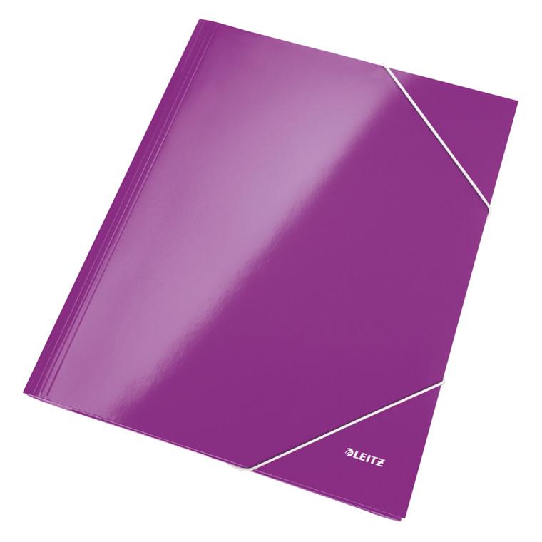 Leitz WOW elastikmappe A4 med 3 klapper lilla - 39820062