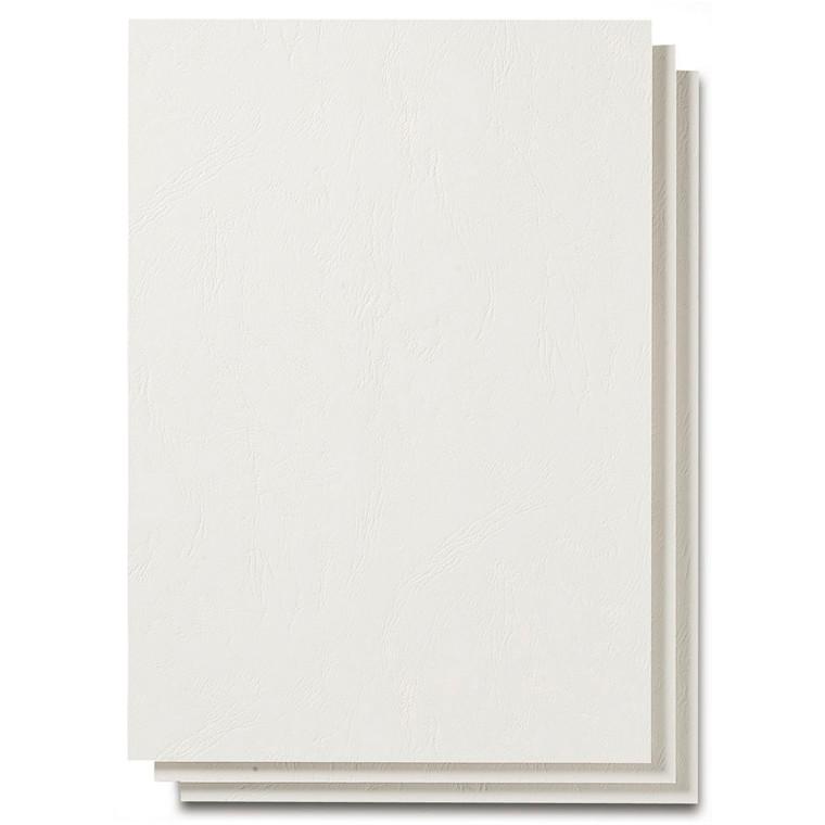 Bagside til indbinding- Fellowes hvid  A4 250g læderpræg. - 100 stk