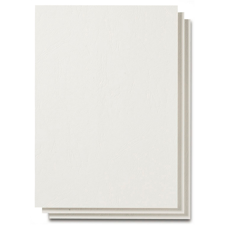 Kartonomslag - Fellowes hvid  A4 250g læderpræg. - 100 stk
