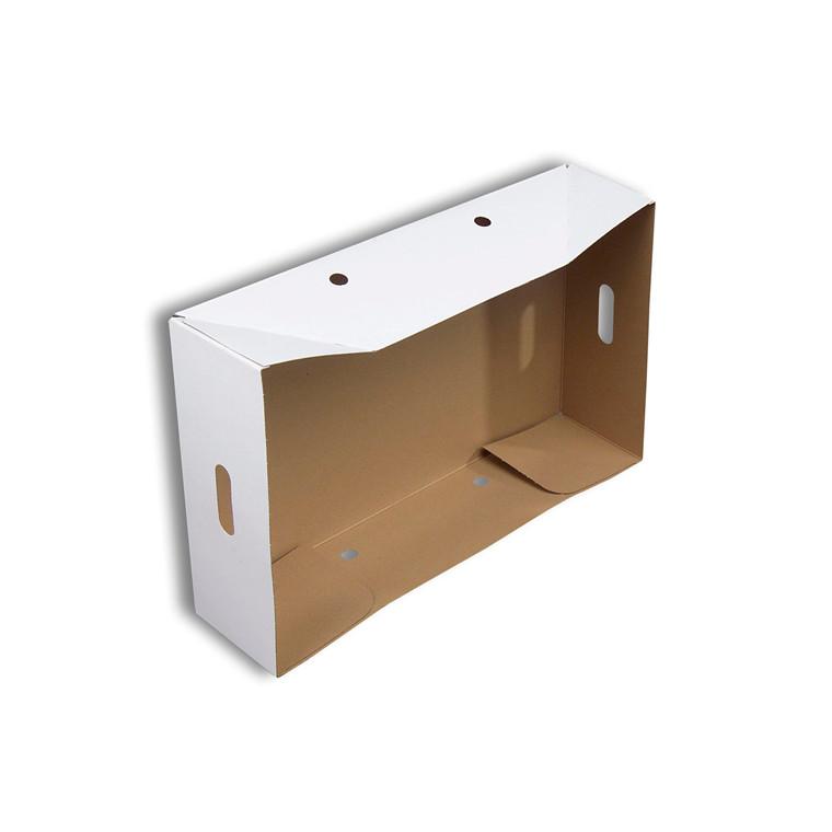 Kasselåg karton hvid/brun m/håndtagshuller 581x381x158mm