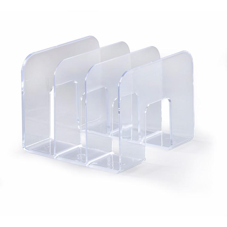 Katalogholder med 3 rum - Klar plast