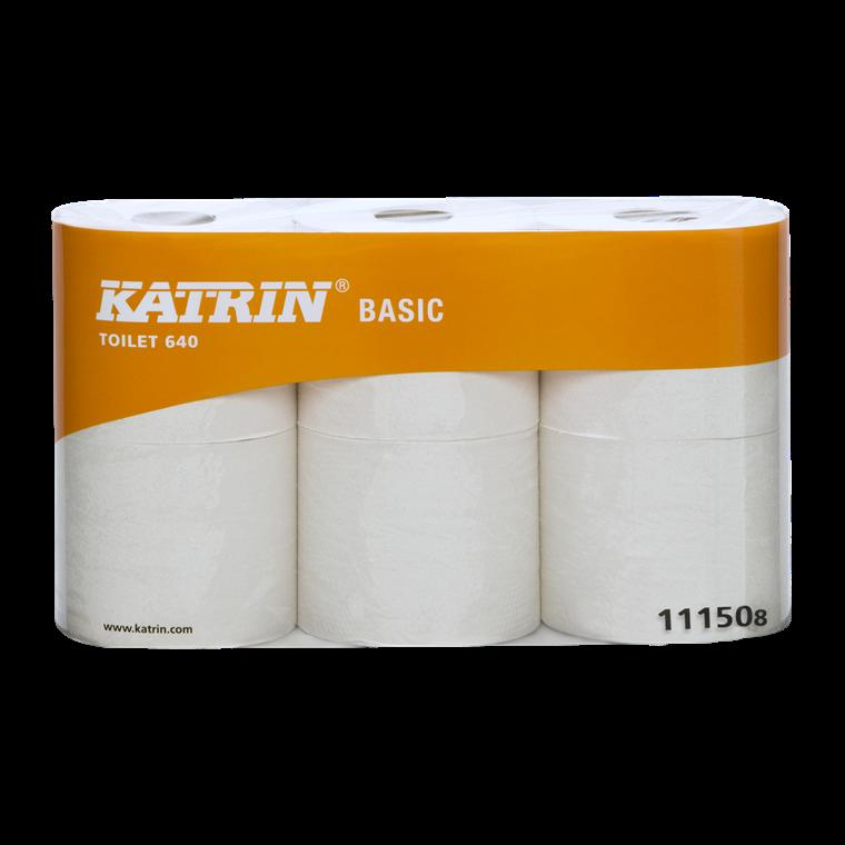 Katrin Basic 640 Toilet WC papir 111505 ubleget 1 lag 640 ark - 42 toiletruller