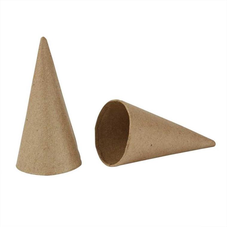 Kegle papmaché Højde 10 cm diameter 5 cm - 10 stk