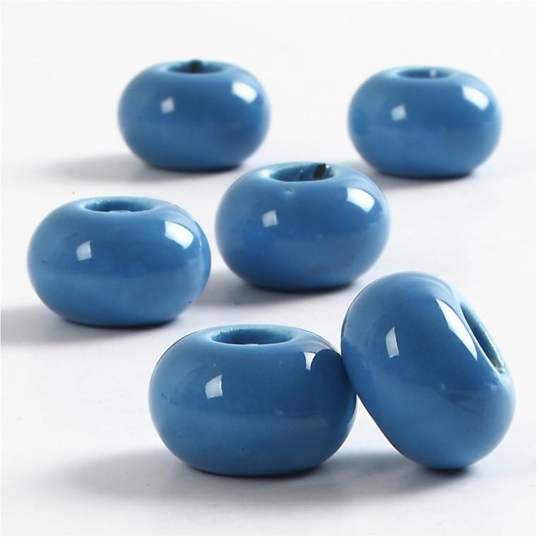 Keramik Link, dia. 15 mm, H: 9 mm, blå, rund, 6stk., hulstr. 5,5 mm