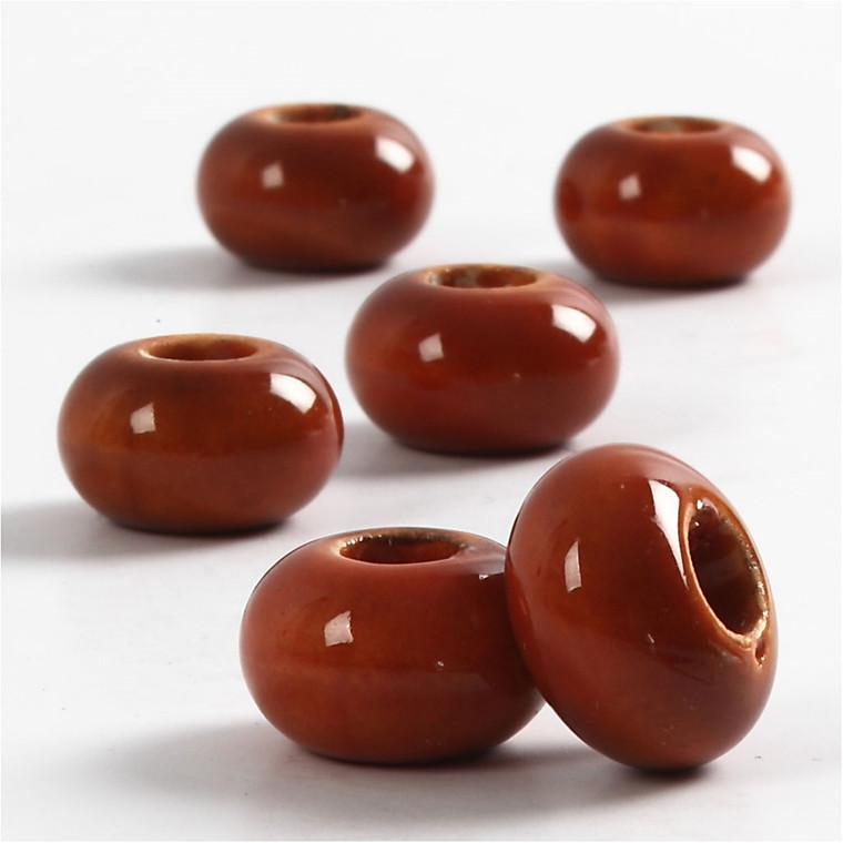 Keramik Link, dia. 15 mm, H: 9 mm, brun, rund, 6stk., hulstr. 5,5 mm
