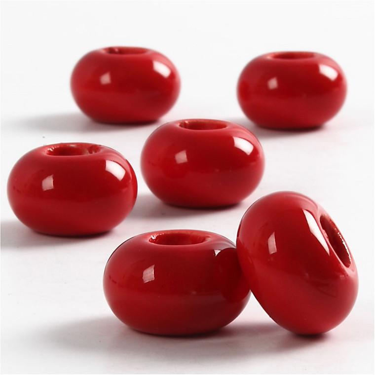 Keramik Link, dia. 15 mm, H: 9 mm, rød, rund, 6stk., hulstr. 5,5 mm