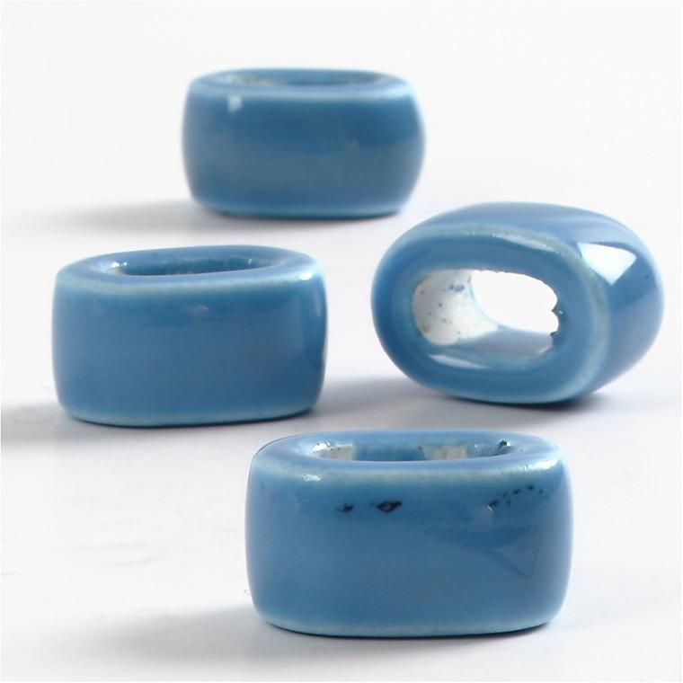 Keramik Link, dia. 18 mm, hulstr. 10 mm, blå, flad, 4stk.