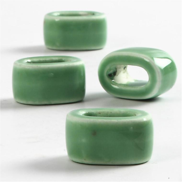 Keramik Link, dia. 18 mm, hulstr. 10 mm, grøn, flad, 4stk.