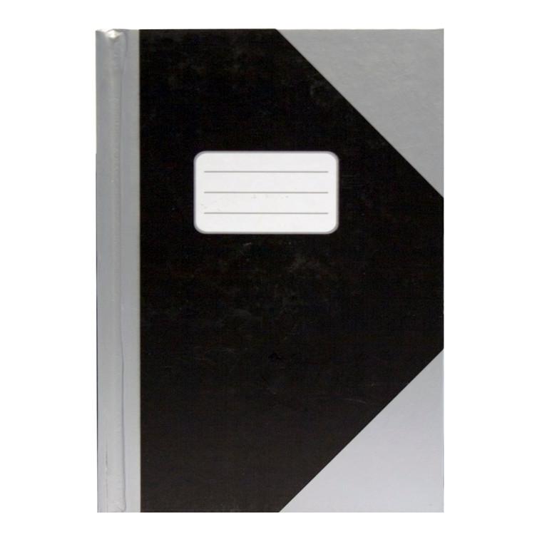 Kinabog - A4 linieret, sort med sølvgrå hjørner