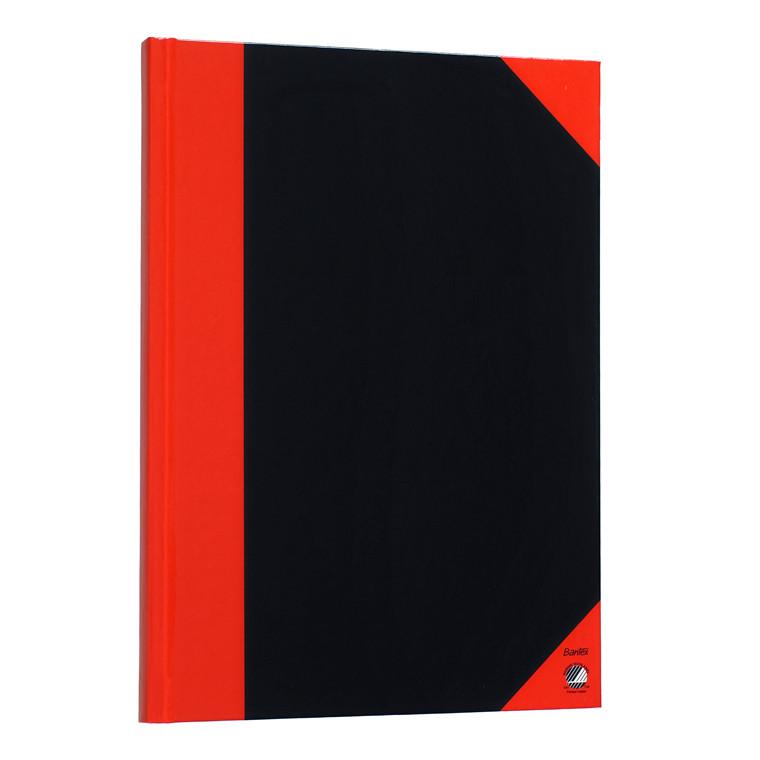 Kinabog - A6 sort med røde hjørner