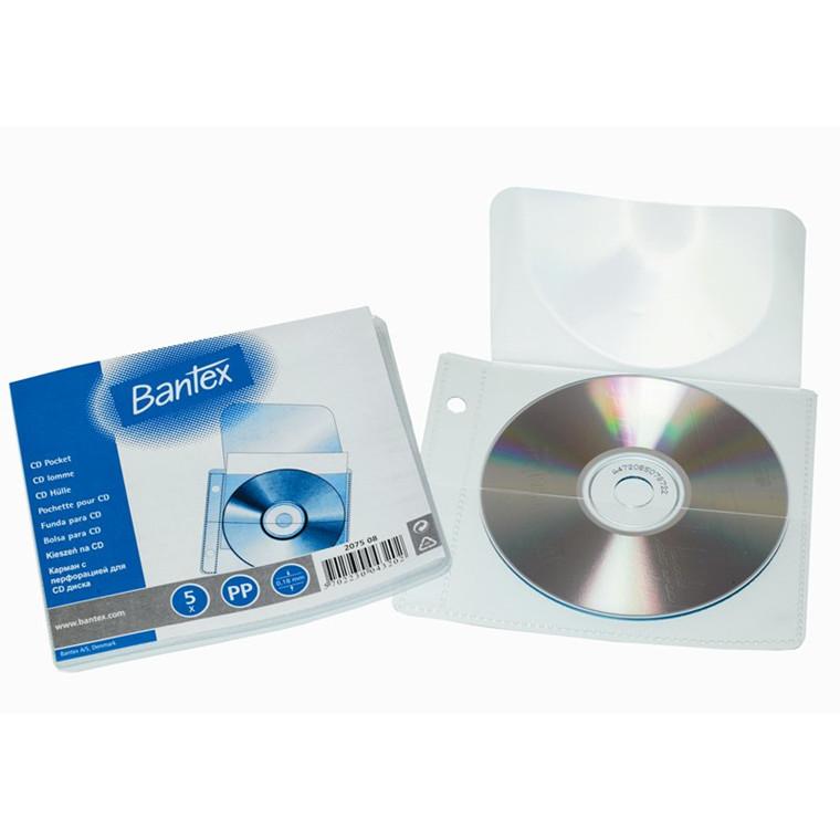 Klar CD lomme til 1 stk CD - 130 x 150 mm 207508 - 5 stk