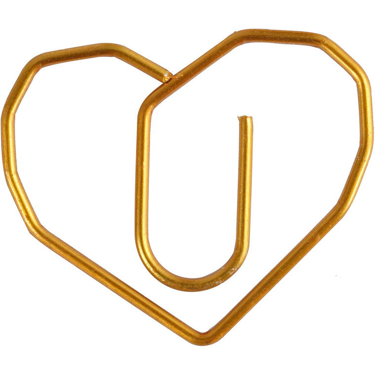 Klips hjerte størrelse 30 x 20 mm guld | 6 stk.