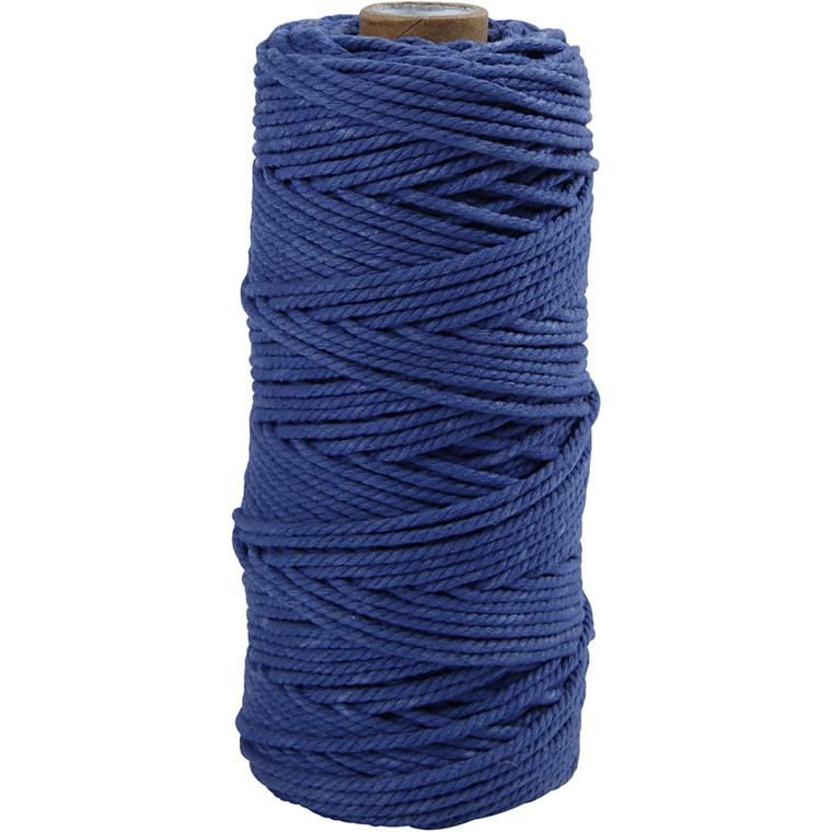 Knyttegarn, L: 120 m, tykkelse 2 mm, blå, Tyk kvalitet 12/36, 250g