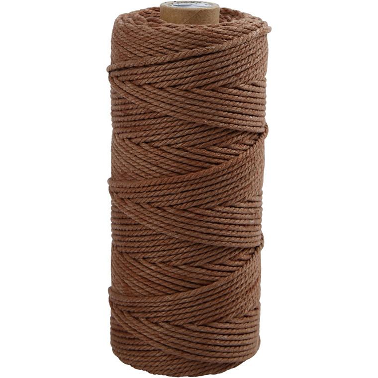 Knyttegarn brun 2 mm tyk - 120 meter