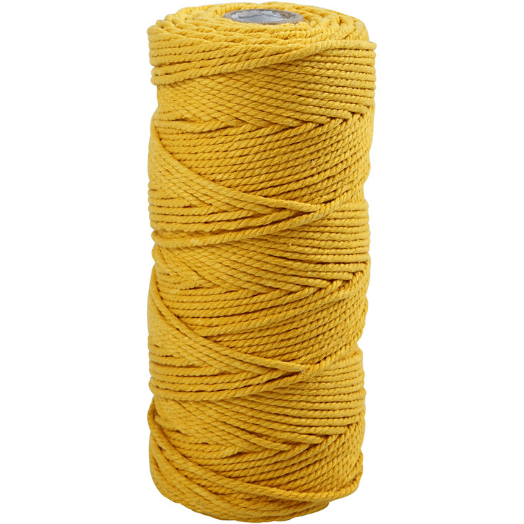 Knyttegarn, L: 120 m, tykkelse 2 mm, gul, Tyk kvalitet 12/36, 250g