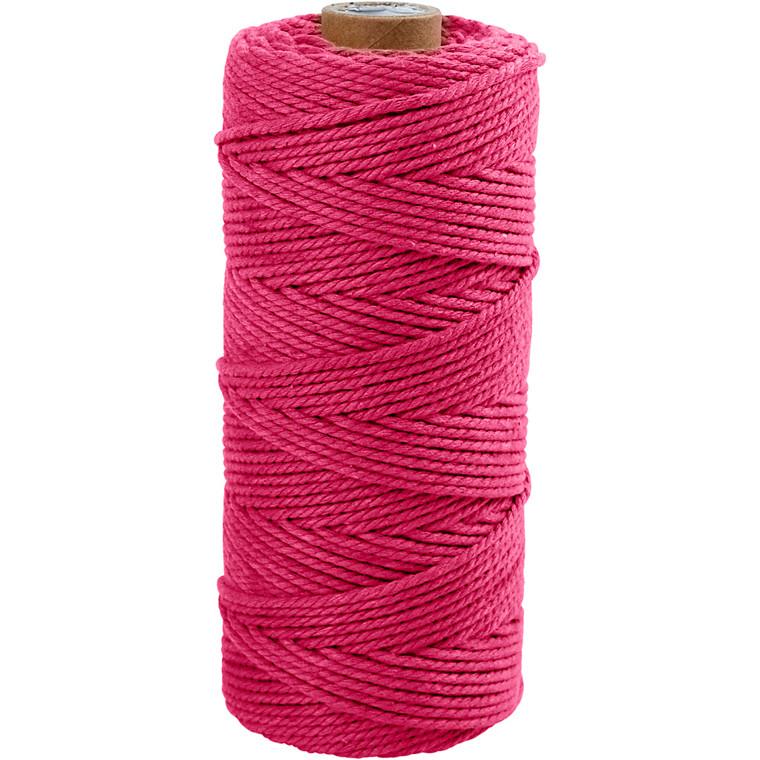 Knyttegarn, L: 120 m, tykkelse 2 mm, pink, Tyk kvalitet 12/36, 250g