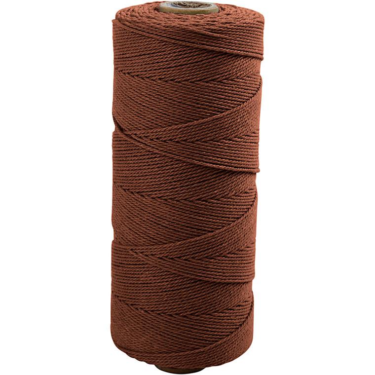 Knyttegarn, L: 320 m, tykkelse 1 mm, brun, Tynd kvalitet 12/12, 250g