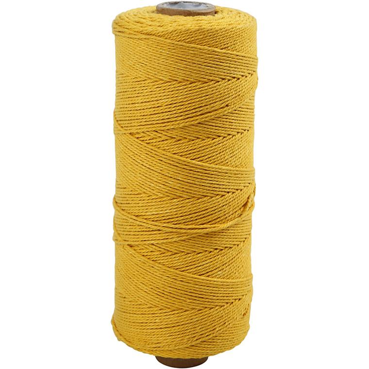 Knyttegarn, L: 320 m, tykkelse 1 mm, gul, Tynd kvalitet 12/12, 250g