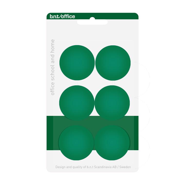 Køleskabsmagneter BNT - grøn runde Ø 3 cm - 6 stk.