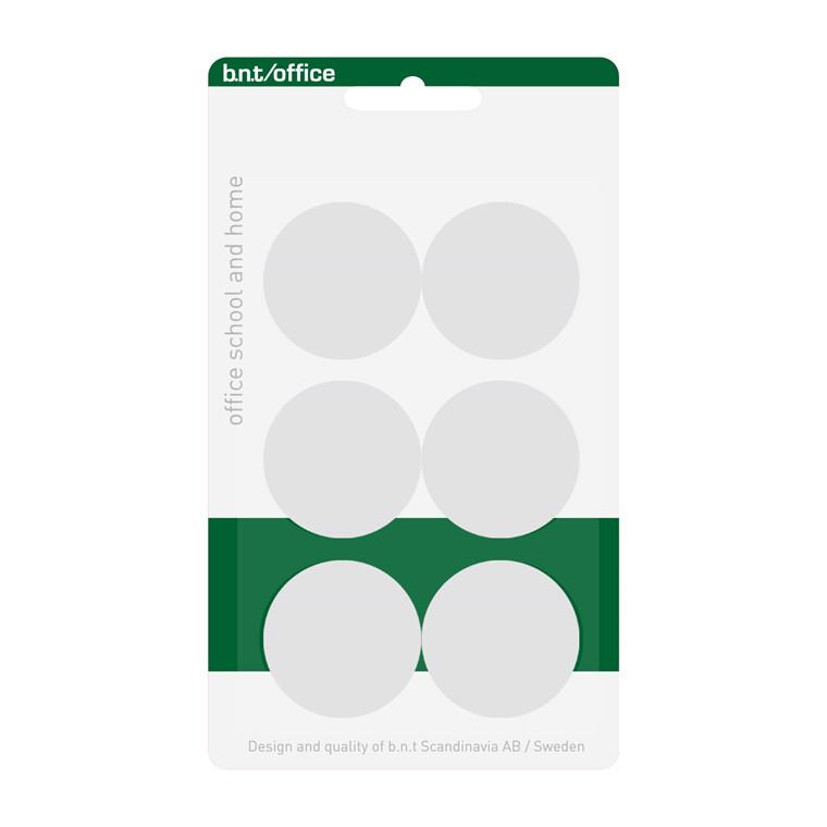 Køleskabsmagneter - BNT hvide med en diameter på Ø 3 cm - 6 stk.