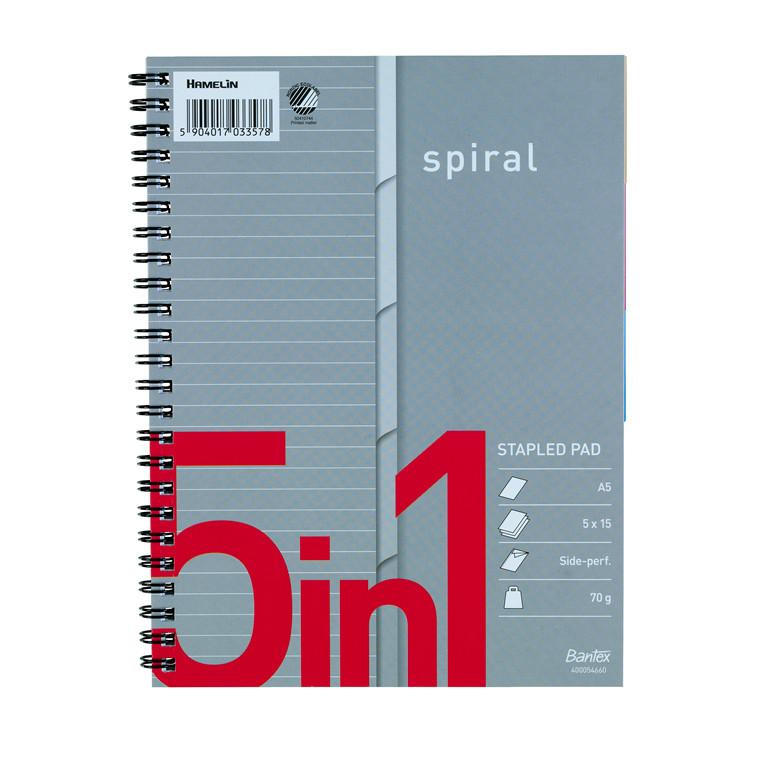 Kollegieblok Bantex m/spiral A5+ 5in1 linjeret 5x15ark