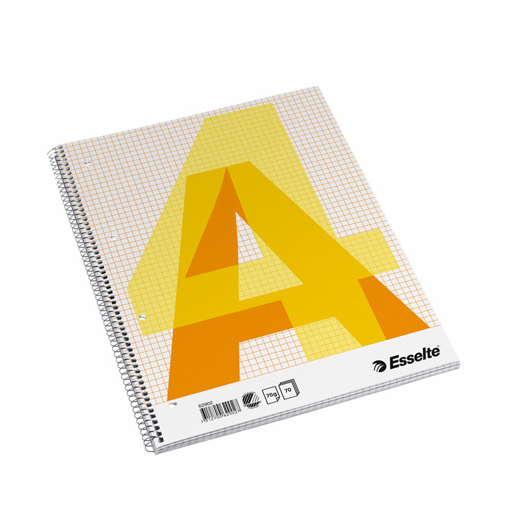 Kollegieblok - Esselte A4 kvadreret med spiralryg - 70 sider
