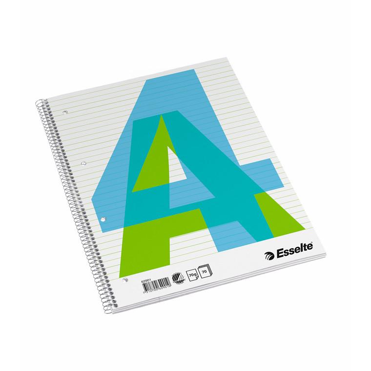 Kollegieblok Esselte A4 linieret med spiralryg - 70 sider