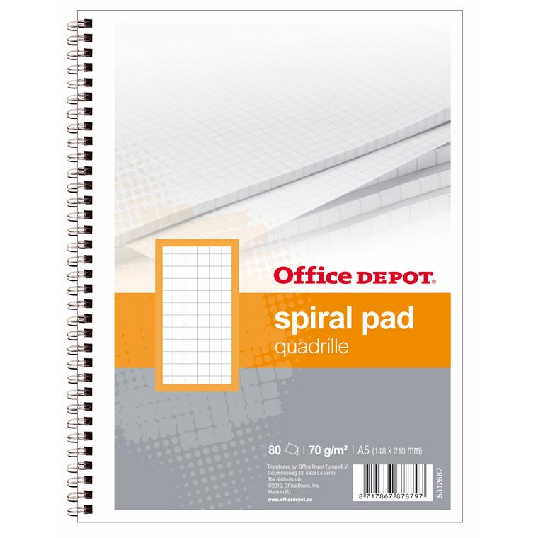 Kollegieblokke - Office DEPOT A5 kvadreret med 2 huller - 80 sider