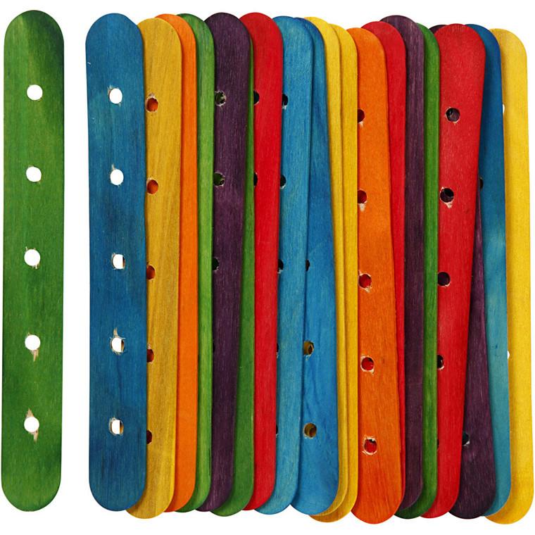 Konstruktionspinde, L: 15 cm, B: 1,8 cm, ass. farver, 20ass. , hulstr. 4 mm