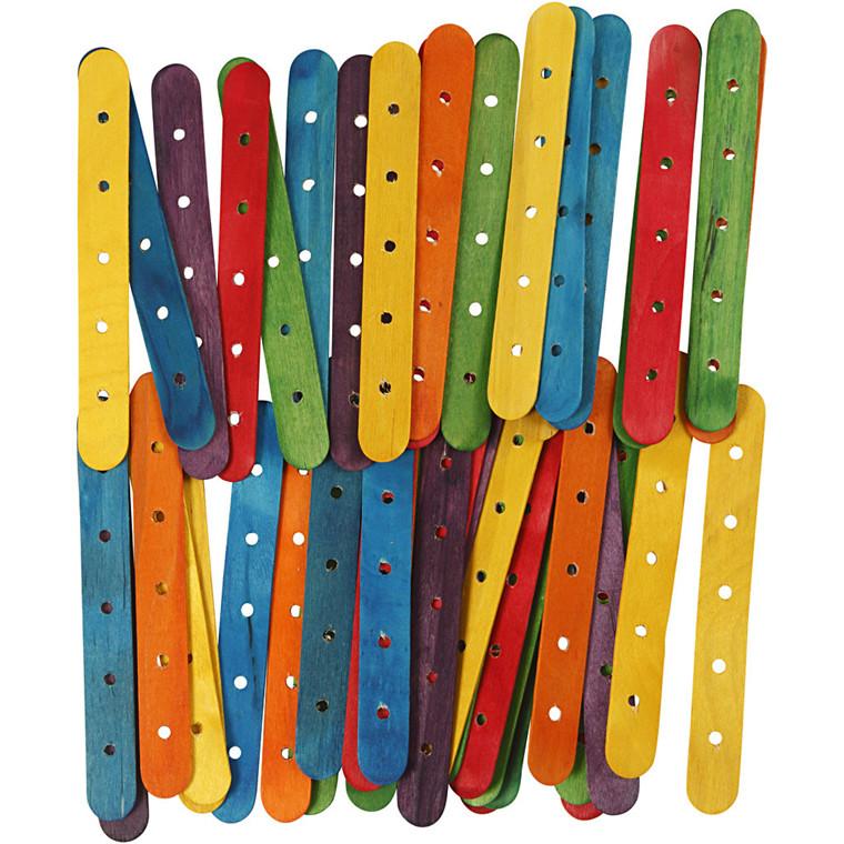 Konstruktionspinde, L: 15 cm, B: 1,8 cm, ass. farver, 500ass., hulstr. 4 mm