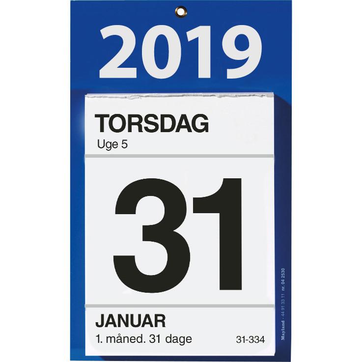 Kontorafrivningskalender Mayland 2019 med bagsidetekst 11,5 x 16 cm - 19 2530 00