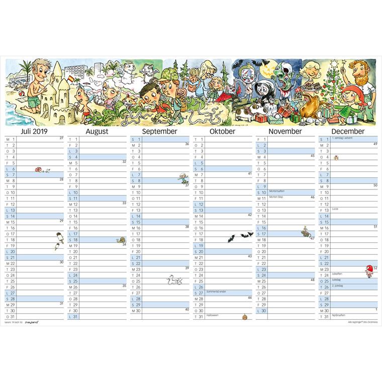 Mayland 2019 Kontorkalender A3 med illustrationer 42 x 30 cm - 19 0631 50
