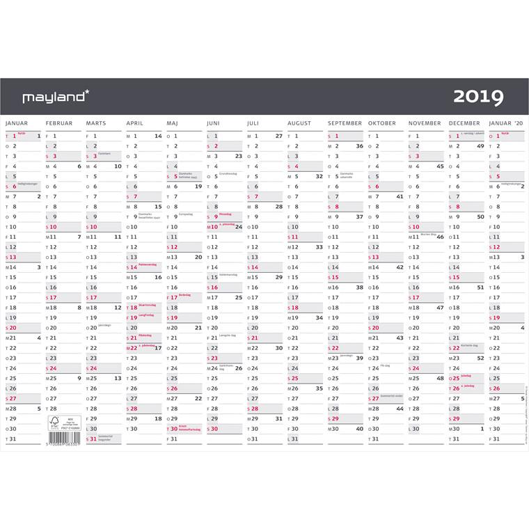 Mayland Kontorkalender 2019 A3 moderne 1 x 13 måneder 42 x 30 cm - 19 0633 00