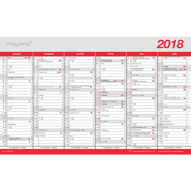 Kontorkalender 2018 med flagdage 39 x 24 cm - 18 0550 00