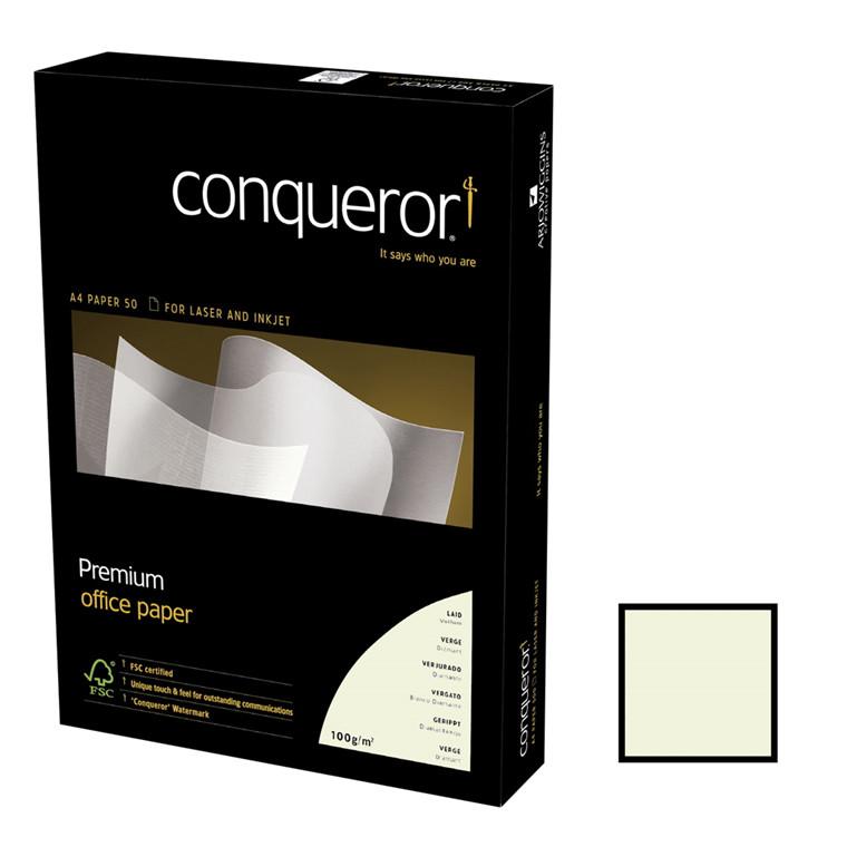 Kopipapir m/vandmærke og striber 100g A4 500ark/pak high white - Conqueror Laid