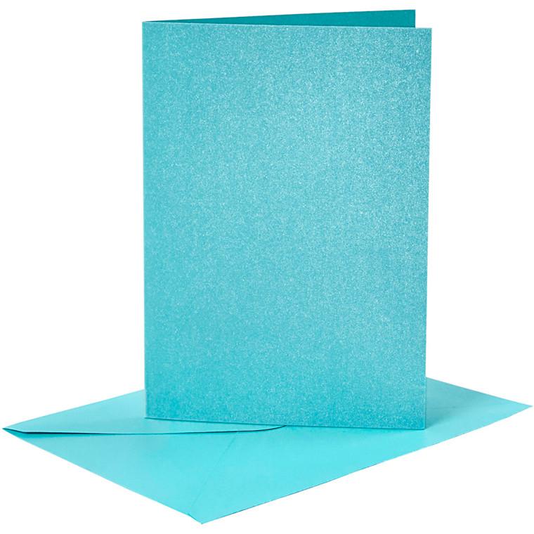 Kort og kuverter, kort str. 10,5x15 cm, kuvert str. 11,5x16,5 cm, blå, perlemor, 4sæt