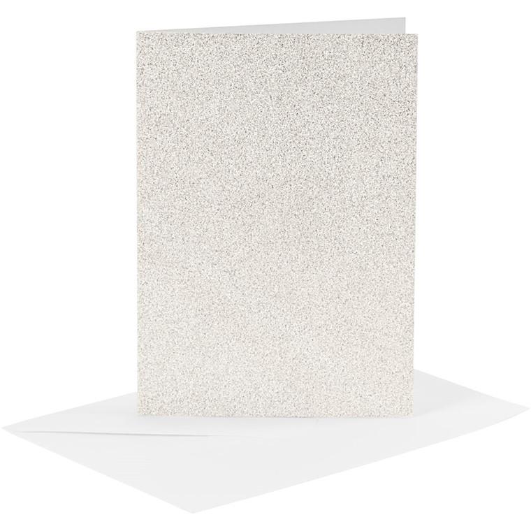 Kort og kuverter kort 10,5 x 15 cm kuvert 11,5 x 16,5 cm hvid glitter - 4 sæt