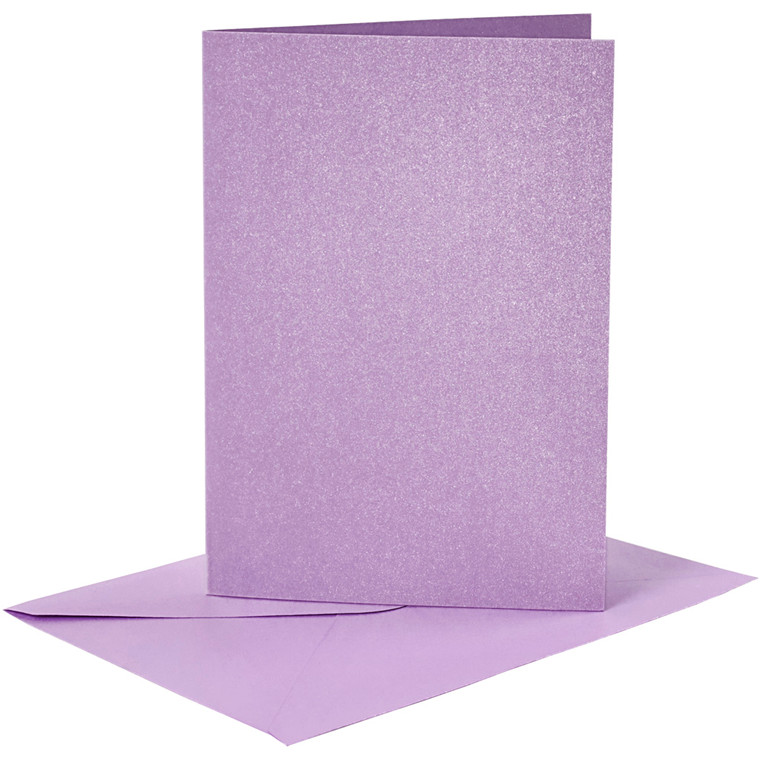 Kort og kuverter, kort str. 10,5x15 cm, kuvert str. 11,5x16,5 cm, lilla, perlemor, 4sæt