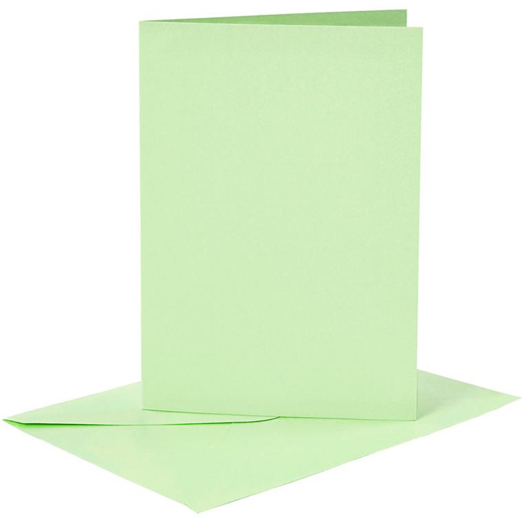 Kort og kuverter, kort str. 10,5x15 cm, kuvert str. 11,5x16,5 cm, lys grøn, 6sæt