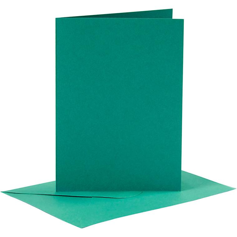 Kort og kuverter kort 10,5 x 15 cm kuvert 11,5 x 16,5 cm mørk grøn - 6 sæt
