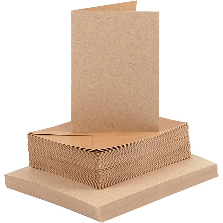 Kort og kuverter, kort str. 10,5x15 cm, kuvert str. 11,5x16,5 cm, natur, 50sæt