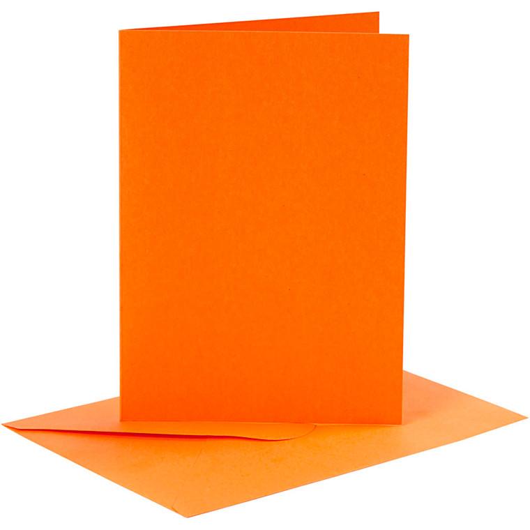 Kort og kuverter, kort str. 10,5x15 cm, kuvert str. 11,5x16,5 cm, orange, 6sæt