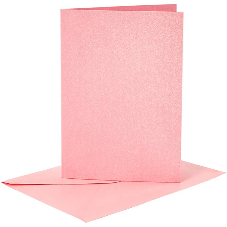 Kort og kuverter, kort str. 10,5x15 cm, kuvert str. 11,5x16,5 cm, rosa, perlemor, 4sæt