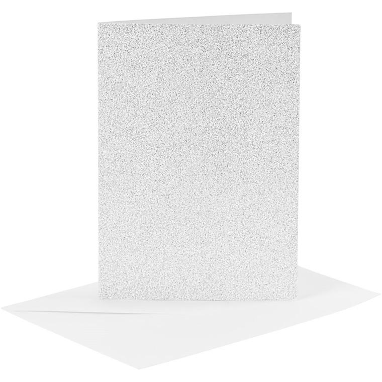 Kort og kuverter kort 10,5 x 15 cm kuvert 11,5 x 16,5 cm sølv glitter - 4 sæt