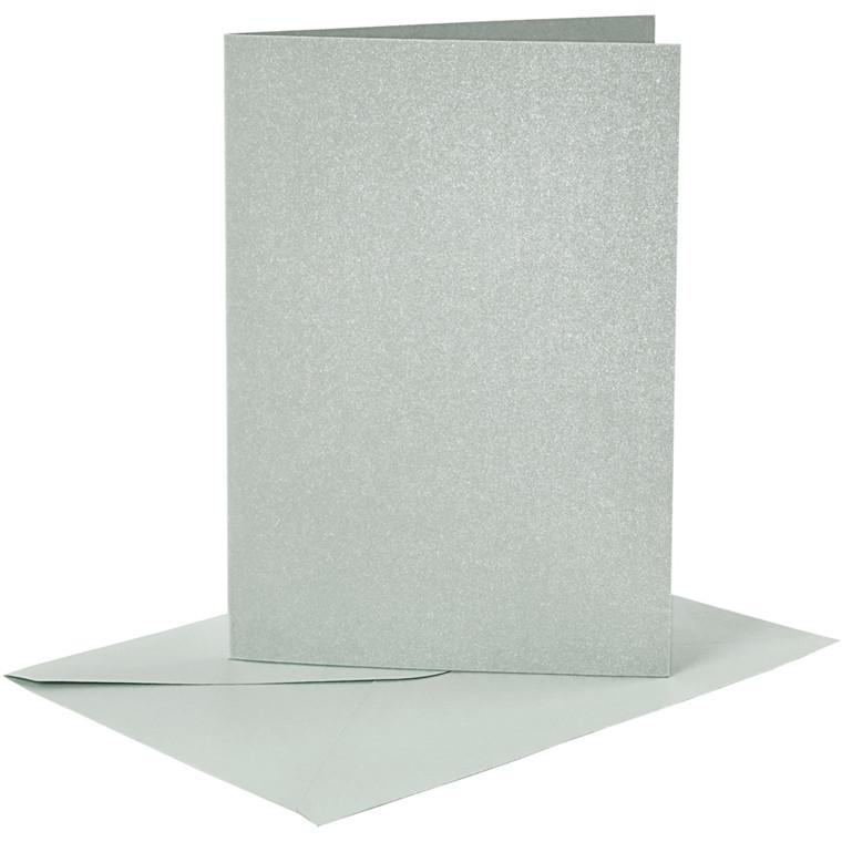 Kort og kuverter kort 10,5 x 15 cm kuvert 11,5 x 16,5 cm sølv perlemor - 4 sæt