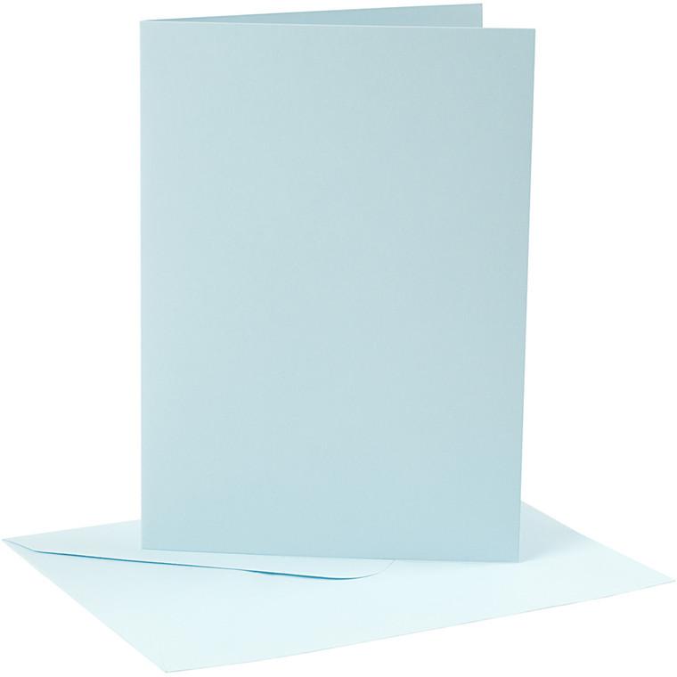 Kort og kuverter, kort str. 12,7x17,8 cm, 220 g, lys blå, 4sæt, kuvert str. 13,3x18,9 cm