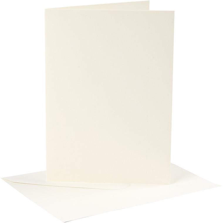 Kort og kuverter, kort str. 12,7x17,8 cm, 220 g, råhvid, 4sæt, kuvert str. 13,3x18,9 cm