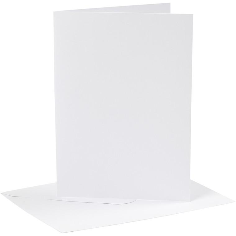 Kort og kuverter, kort str. 12,7x17,8 cm, 230 g, hvid, 4sæt, kuvert str. 13,3x18,9 cm