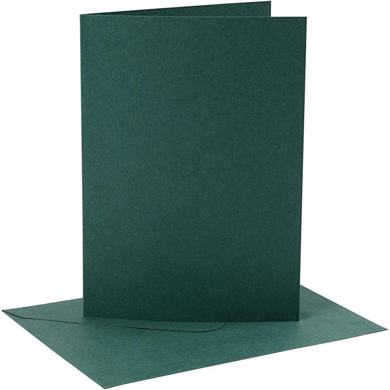 Kort og kuverter, kort str. 12,7x17,8 cm, 230 g, mørk grøn, 4sæt, kuvert str. 13,3x18,9 cm