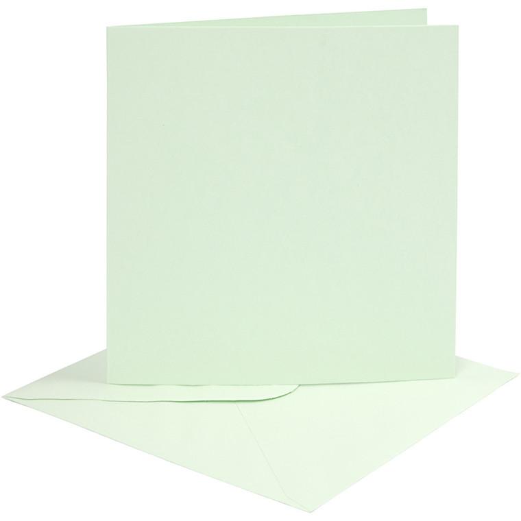 Kort og kuverter, kort str. 15,2x15,2 cm, 210 g, lys grøn, 4sæt, kuvert str. 15,5x15,5 cm
